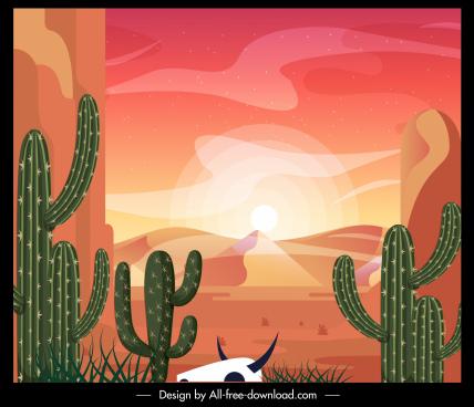 desert landscape painting cacti sunlight dune sketch