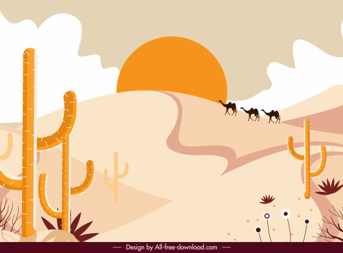 desert landscape painting colored classic design