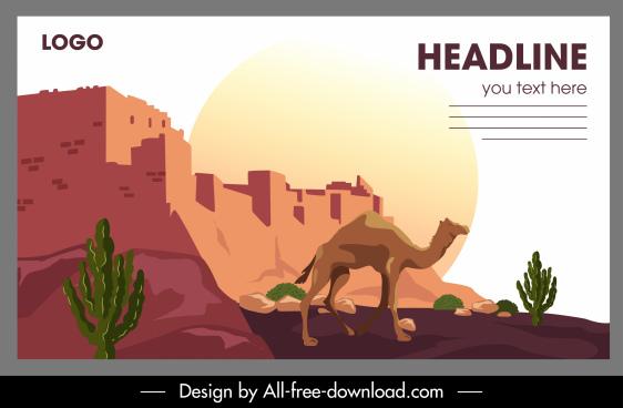 desert scenery banner colored classic design