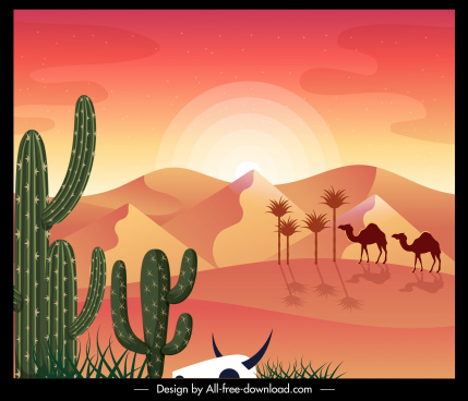 desert scenery painting colored classical decor