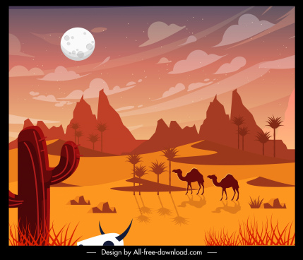 desert wild life landscape painting colored classic decor