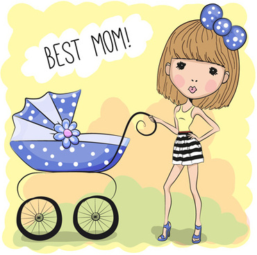 design cute baby cards vectors set