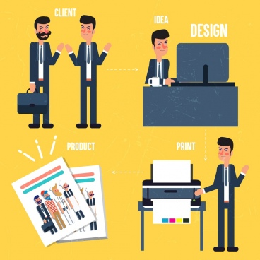 designer work concept infographic men printer icons
