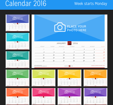 desk calendar16 with your photo vector