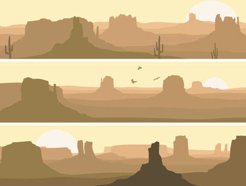 desolate desert banners vector
