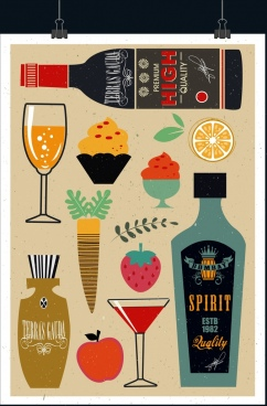 dessert advertising bottle cocktail fruit icons retro design