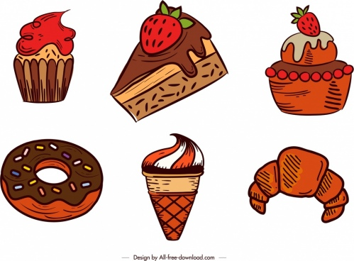 dessert design elements cake cream icons classical design