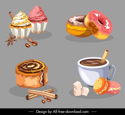 dessert design elements classical handdrawn cakes coffee sketch