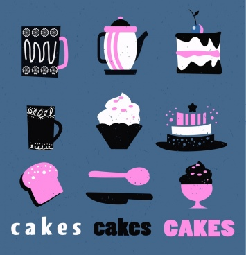 dessert design elements flat black pink white icons