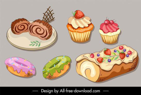 dessert food icons cakes sketch handdrawn classic