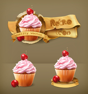 dessert food retro labels vector
