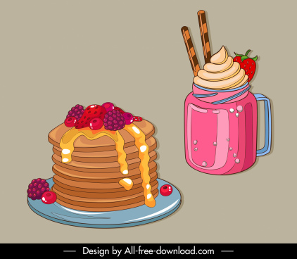 dessert icons 3d classic cake drink sketch