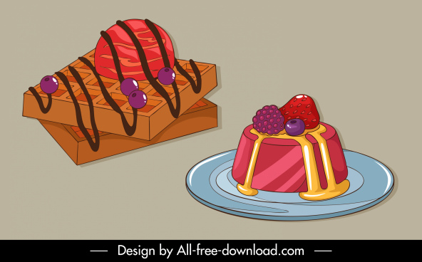 dessert icons 3d colorful cakes sketch