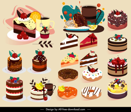 dessert icons cake shapes sketch colorful decor