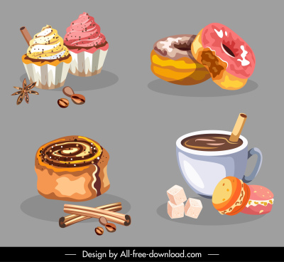 dessert icons colorful classical handdrawn pie coffee sketch