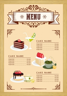 dessert menu template cake beverages icons classical design