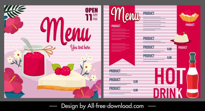 dessert menu template cake drink sketch flat classic