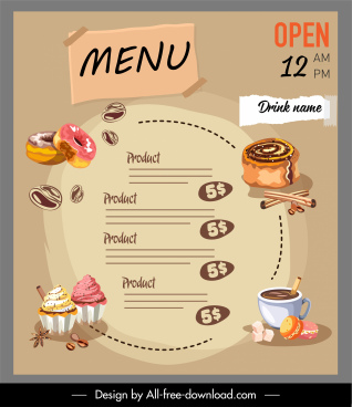dessert menu template classical handdrawn cakes coffee sketch