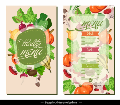 dessert menu template colorful blurred vegetable decor