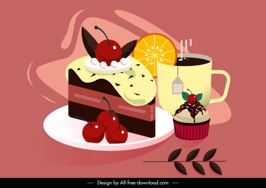 dessert painting cream cake tea sketch colorful classic