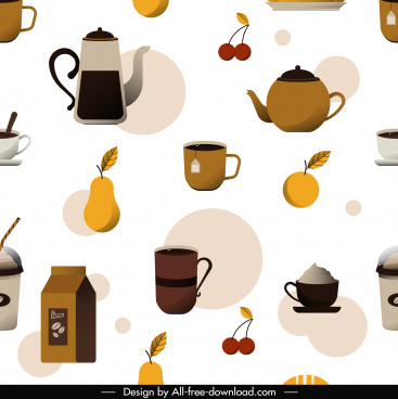 dessert pattern coffee tea fruit sketch flat classic