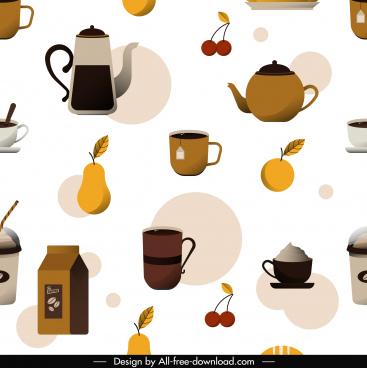 dessert pattern coffee tea fruit sketch flat classic