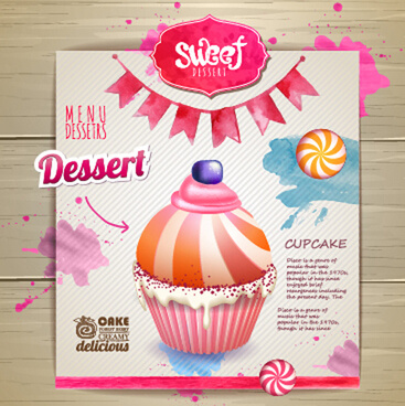 dessert sweet menu design vector