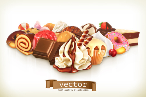 dessert with cake vector background art