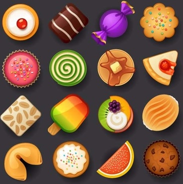 dessert with cakes icons set