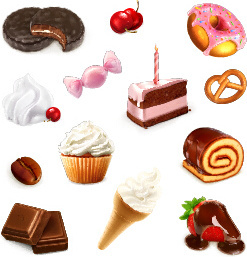 dessert with cupcake and fruits vector