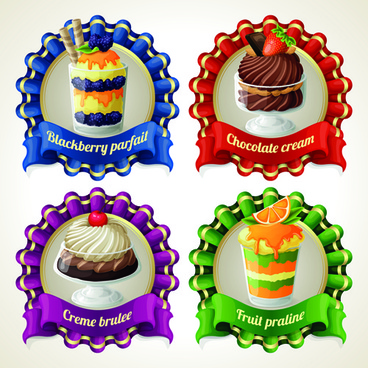 dessert with sweet creative labels vector