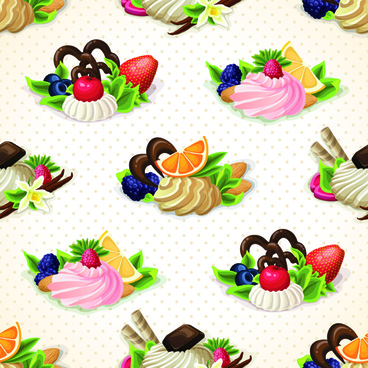 dessert with sweet seamless pattern vector