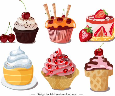 desserts icons colorful decorated cupcakes sketch