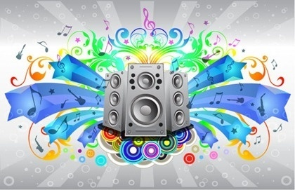 music festival banner colorful eventful design speakers decoration