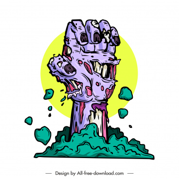 devil icon zombie hand sketch dynamic colored classic