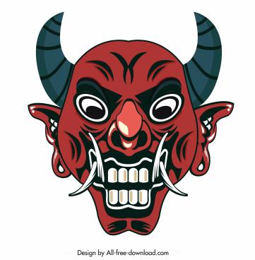 devil mask icon frightening face sketch