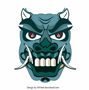 devil mask icon horrible horned fang face sketch