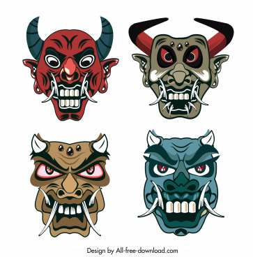 devil mask templates horror horned faces sketch