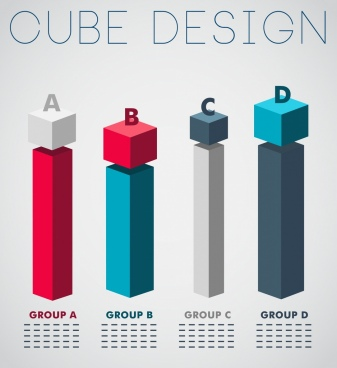 diagram chart background colorful 3d cubic column design