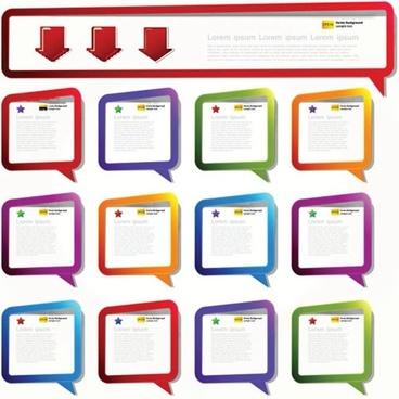 dialog box templates modern colorful speech bubble shapes