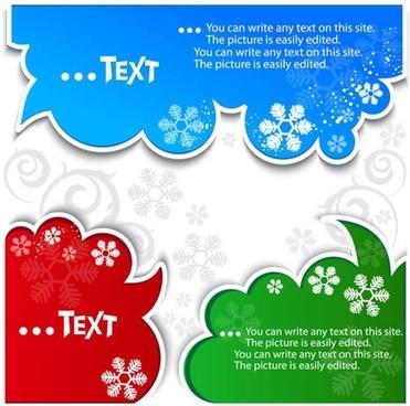 xmas decorative elements snowflakes decor speech bubble shapes