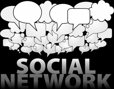 social network background black white speech bubbles sketch