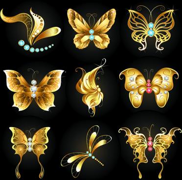 diamond and golden butterflies vector