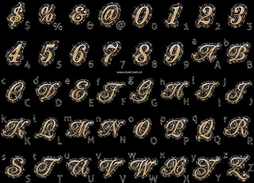 diamond embedded in the english alphabet arabic numerals and symbols vector