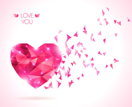 diamond heart creative vector graphics