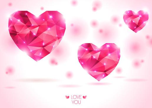 diamond heart creative vector graphics