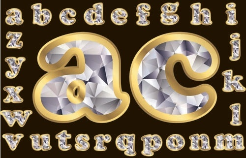 diamond letters 02 vector