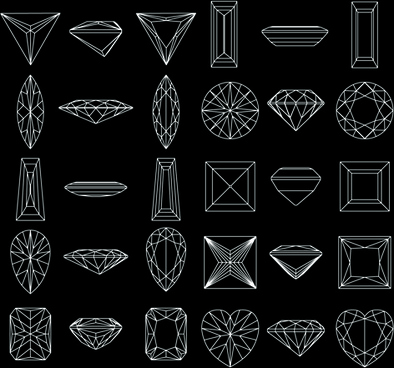 diamond outline shapes vector