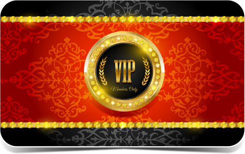 diamond vip card red and black vector