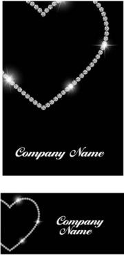 diamond with heart shape cards vector